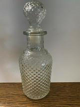 "VINTAGE AVON 6.5""  Clear Cut Glass Perfume Decanter Bottle w/ Stopper Top - $12.77"