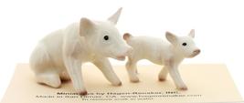 Hagen-Renaker Miniature Ceramic Pig Figurine White Mama and Baby Piglet image 3