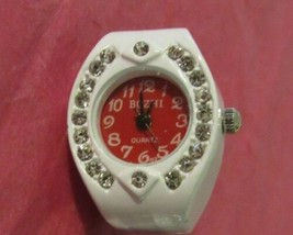 WHITE WATCH RING WITH ROUND FACE - $10.00