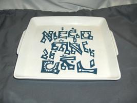 Vintage 1970's Naaman Fine Porcelain Square Handled Blue On White Tray I... - $64.35