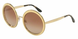 NEW  Dolce & Gabbana Round Sunglasses DG 2179 02/13 Gold/Brown Gradient ... - $176.42