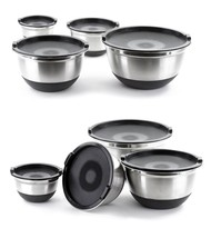 4 Pcs Stainless Steel German Mixing Bowls Set with Lids & Non-Skid Silic... - $499,30 MXN