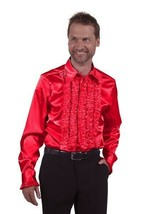 Deluxe Tuxedo Shirt , 70's Frilled Front - Red - $32.45