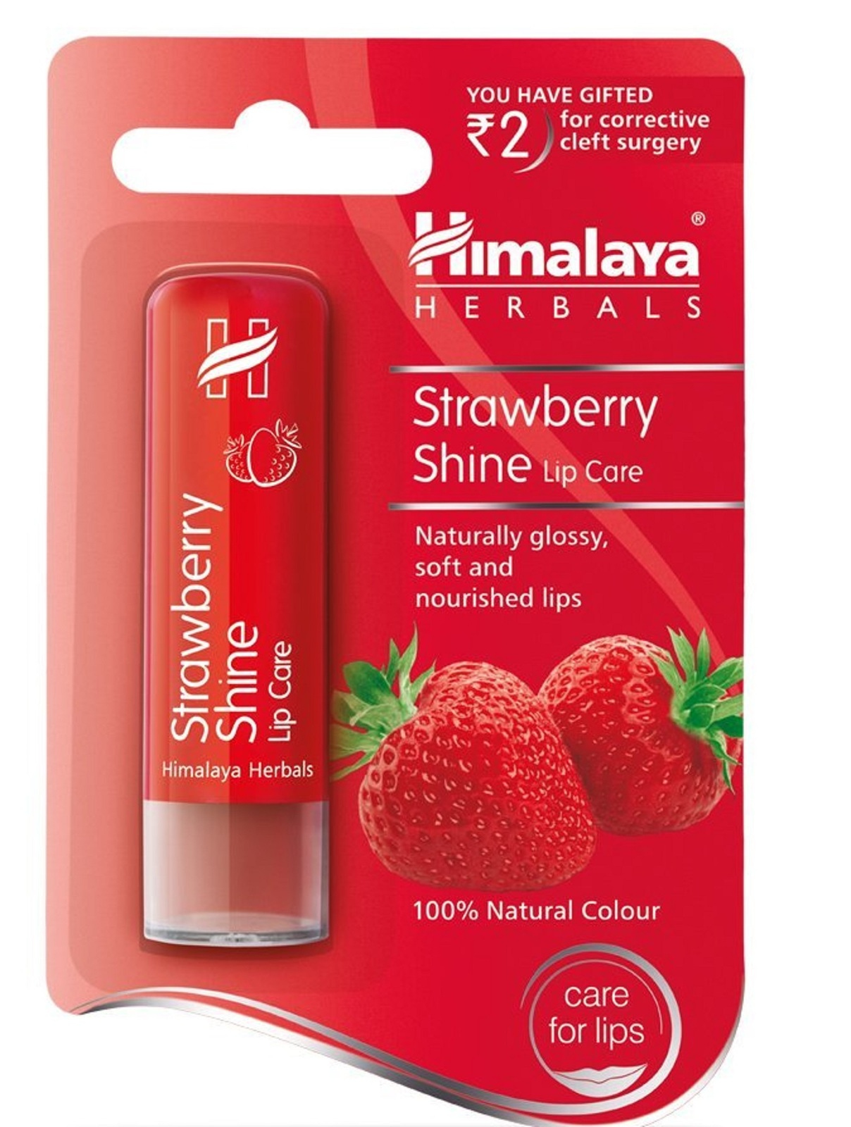 Himalayan Shine Strawberry Lip Balm 4.5 g Naturally Gloss, Soft & Nourishes Lips