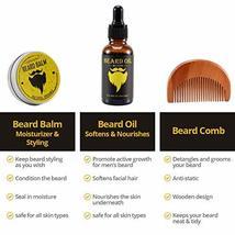 Beard Derma Roller for Men's Beard Growth + Beard Serum Oil + Beard Balm Wax + C image 3