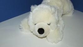 "Sea World Plush off white polar bear cub lying down 14"" plush black nose  - $9.89"