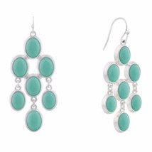 Liz Claiborne Women's Blue Chandelier Earrings Silver Tone NEW - $19.79