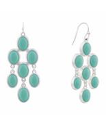 Liz Claiborne Women's Blue Chandelier Earrings Silver Tone NEW - $19.79