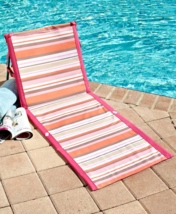 Portable Lounger Folding Beach Chair Poolside Striped Low Blue Green Pin... - $24.99