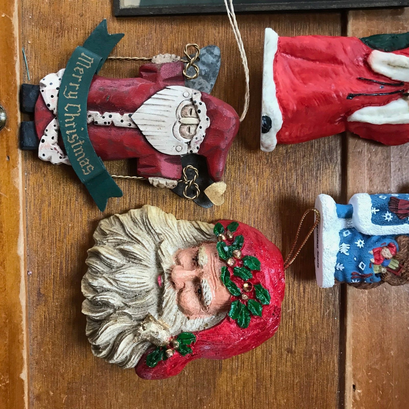Estate Lot of Painted Sponge Head Carved Resin Blue RUSSIAN Santa Claus Christma