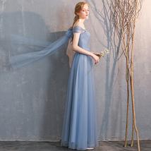 Floor Length Maxi Bridesmaid Dresses Tulle Wedding Dress Light Gray Off Shoulder image 11