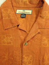 GORGEOUS Tommy Bahama Copper-Orange and Gold Floral 100% Silk Hawaiian S... - $32.84