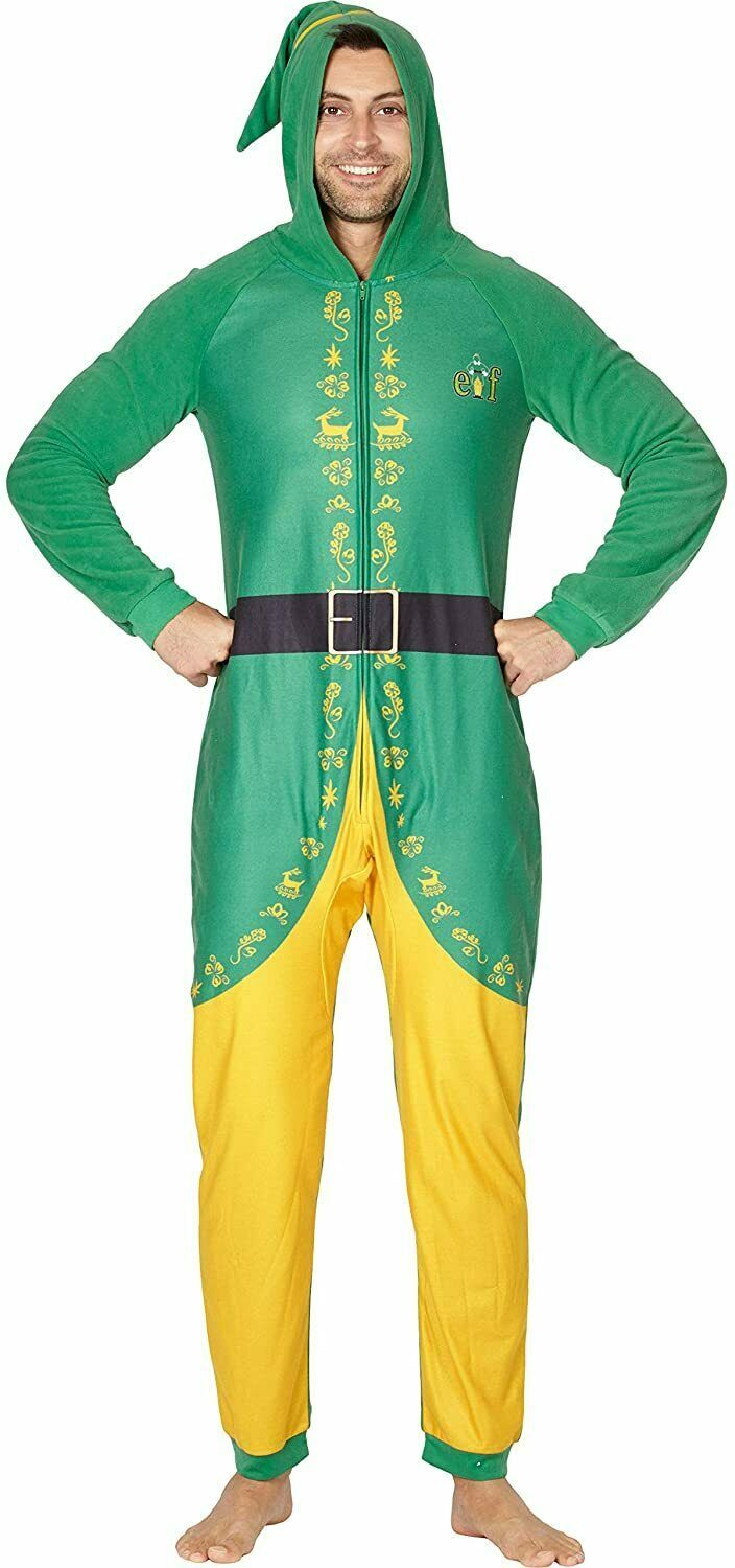 Primary image for NWT Men's Buddy the Elf Adult Union Suit w/ Hood Costume Halloween / Christmas