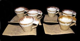 12-Pc Drip Speckled Sand Embossed Scroll Wave Cups Saucer / Snack Plate NEW RARE - $99.99