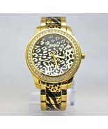 New Guess U0465L1 Crystals Bezel Animal Print Golden Stainless Steel Wom... - $98.01
