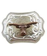 Western Silvertone Longhorn Bull Head Belt Buckle #102113q - $14.84