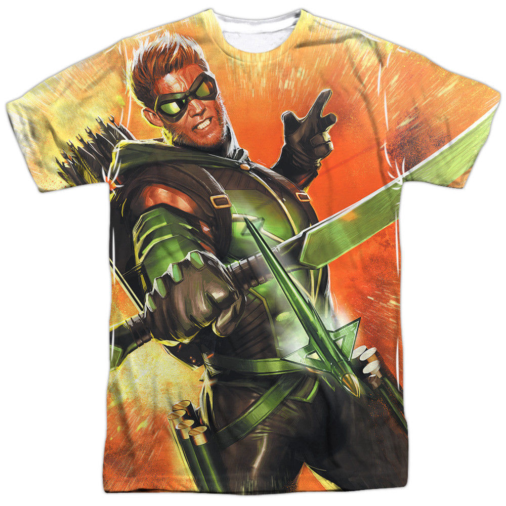 Primary image for JLA Justice League of America Green Arrow Worth a Shot Sublimation Front T-shirt