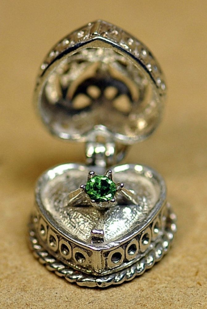 HOT Sterling Silver Open Charm Heart Photo Locket Ring Wedding Engagement Emeral