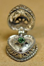 HOT Sterling Silver Open Charm Heart Photo Locket Ring Wedding Engagement Emeral - $33.32