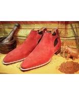 Handmade Designer Men Red color suede Ankle boots, Men red suede jodhpur... - $179.99