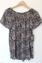 NWT Vince Camuto Rich Black Cheetah Flutter Sleeve Airy Sexy Blouse Top S $79 - $29.40