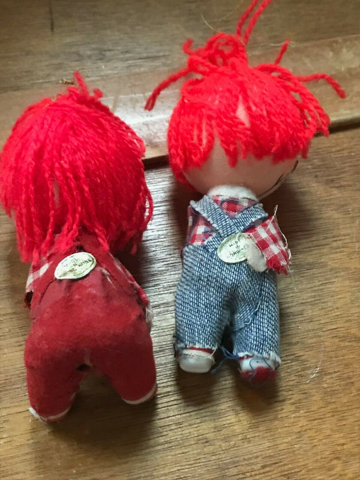Vintage Pair Lot of Raggedy Ann & Andy Christmas Tree Ornaments – made in Hong  image 5