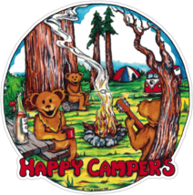 Happy Campers  Outside Window Sticker   Car Decal  Hippies - $5.49