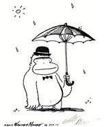 Derby Hat Ape under Open Umbrella. Original Cartoon by Walter Moore - $9.54