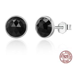 100% 925 Sterling Silver June Droplets Stud Earrings. Black Crystal - $14.99