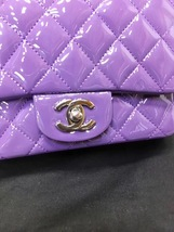 AUTHENTIC CHANEL 2017 PURPLE QUILTED PATENT LEATHER SQUARE MINI CLASSIC FLAP BAG image 6