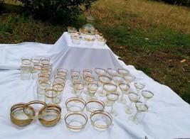 Vtg 1950 Libbey Gold Band  laurel leaf Barware Set X 55 Glasses Pitcher bowls - $247.50