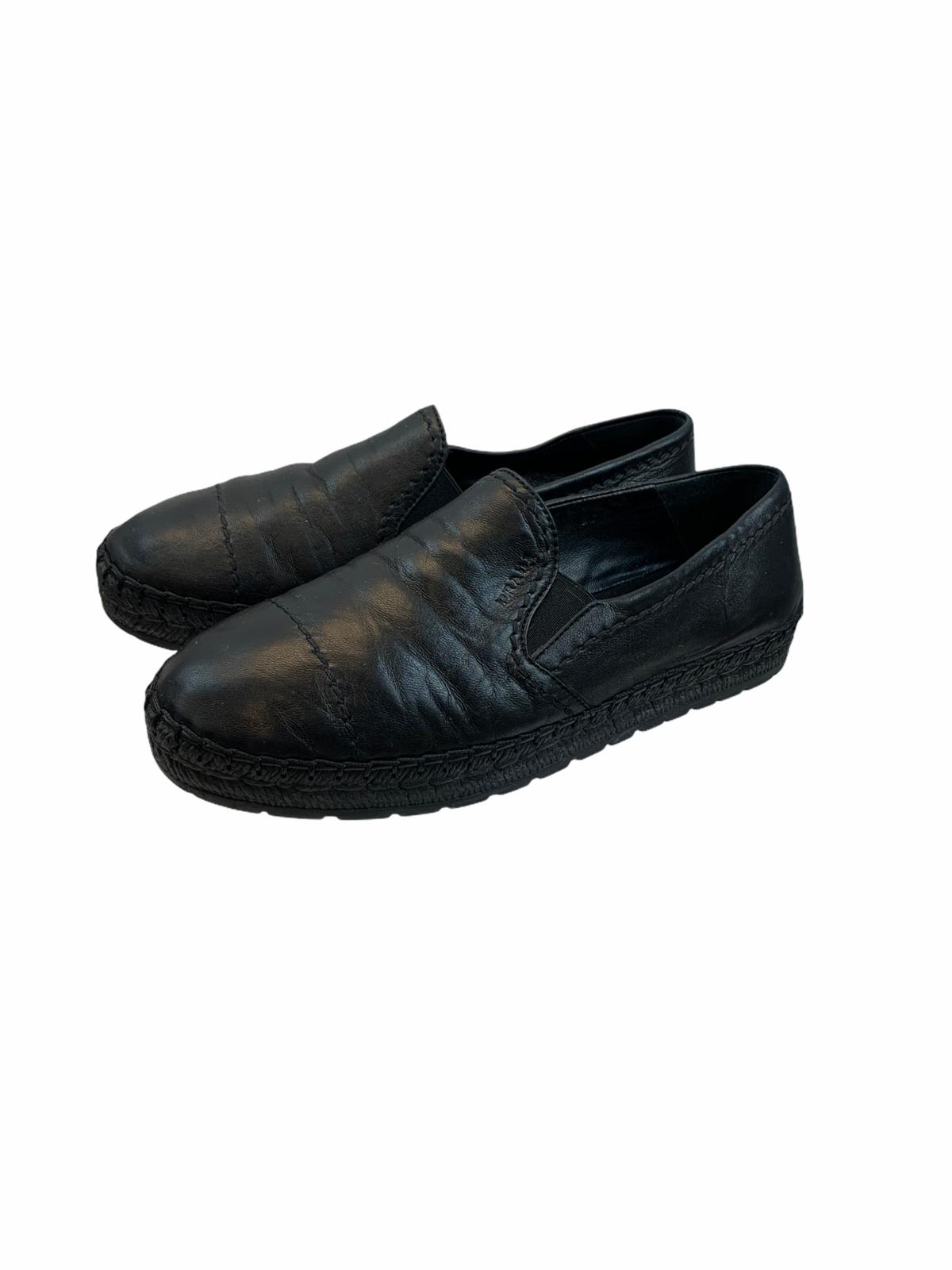 Prada Black Leather Stitch Detail Espadrilles Slip On Sneaker Womens Size 37 - $275.99