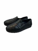 Prada Black Leather Stitch Detail Espadrilles Slip On Sneaker Womens Siz... - $275.99