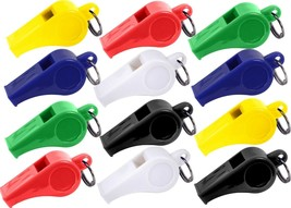 12 Assorted Colorful Plastic Referee Sports Safety Whistle - $9.99