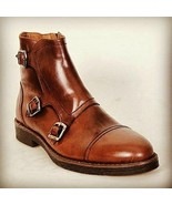 Handmade Monk Brown Color Cap Toe Triple Strap Leather Boot For Men  - $149.99+