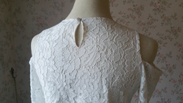 White Lace Cold Shoulder Top Long Sleeve White Lace Wedding Bridesmaid Top Plus image 9