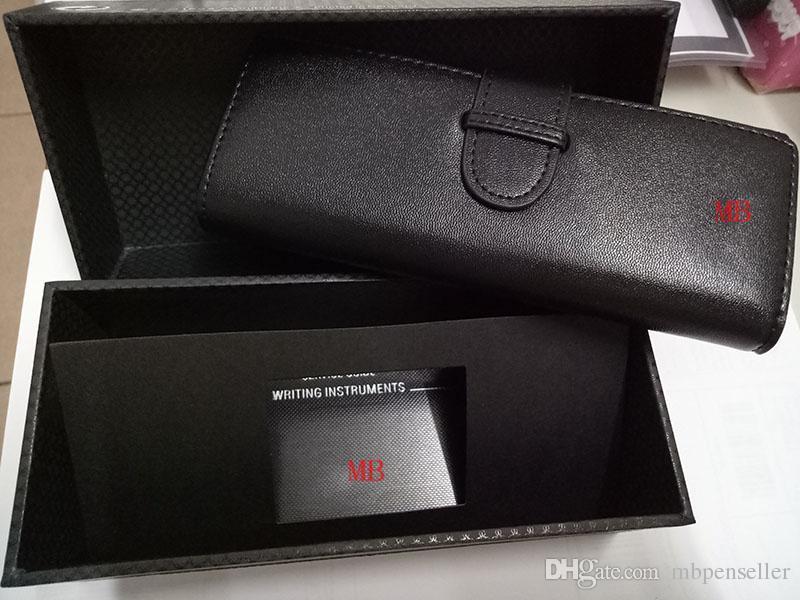Hot sale Luxury Genuine Leather black mb Pen pouch bag + luxury box + manual