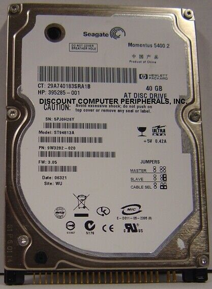 "New ST94813A Seagate 40GB IDE 44pin 2.5"" 9.5mm Hard Drive Free USA Shipping"