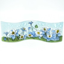 Fused Art Glass Blue Columbine Flower Floral Wavy Sun Catcher Handmade Ecuador