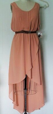 NEW FOREVER 21 POLYESTER CREPE APRICOT HI-LO FAUX WRAP TULIP CASUAL DRESS L