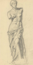 Malcolm Rogers - Mid 20th Century Graphite Drawing, Nude Statue Study - $50.30