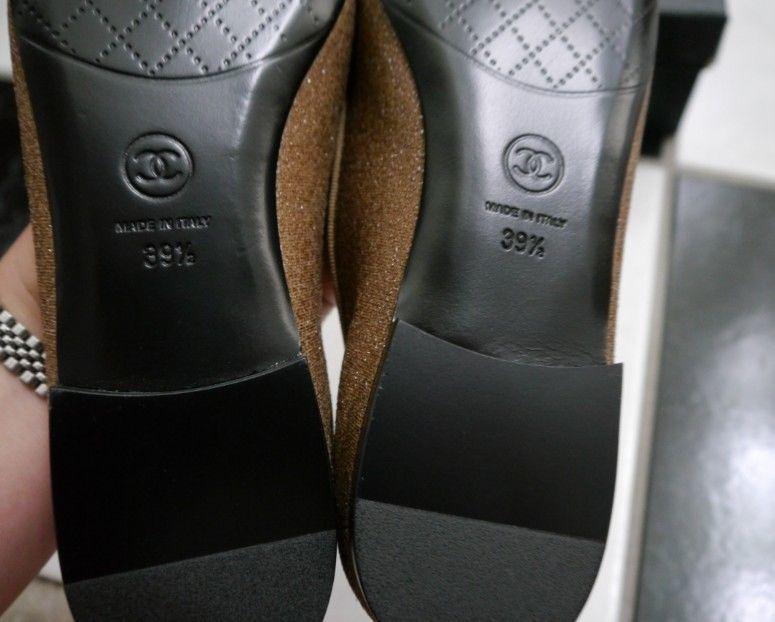 NIB 100% AUTH Chanel G28703 Black Cap Toe Beige Sparkles Flats Sz 39.5 $725