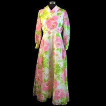 Vtg Bullocks Wilshire Pink Rose Floral Maxi Dress Bateau Collar Shear Ov... - $73.76