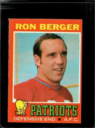 1971 TOPPS #107 RON BERGER EXMT+ RC ROOKIE PATRIOTS  *X2796