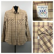 1980s Western Shirt / 80s Levis 1980 Olympic Plaid Button Up Shirt / Large  - $42.00
