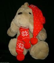 "18"" Vintage 1984 Commonwealth Brown Puppy Dog Christmas Stuffed Animal Plush Toy - $32.38"