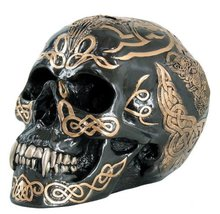 7 Inch Black and Gold Color Celtic Pattern Skull Statue Figurine - $21.99
