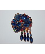 Stunning Multi Colored Rhinestone Brooch with 4 Dangles of Rhinestones - $49.99