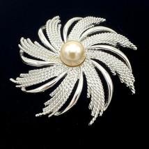 Sarah Coventry Swirl Pinwheel Pearl Brooch Pin - $17.82