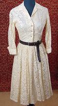 Antique White lace Vintage 50/60s fit & Flare dress XS w/DEFECTS (TC2-05... - $54.43